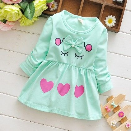 Cute Love Print Green Bow Applique Dress - Mellow
