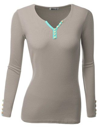 Long Sleeve Trim Color Point Henley Neck T-shirts - Gray - Doublju