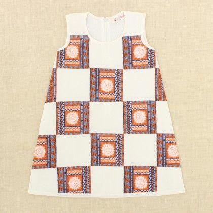 Cream & Orange Patchwork Print Dress - Punkster