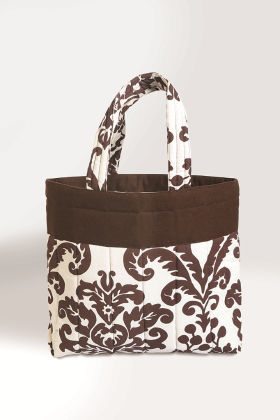 Printed Cotton Vibrant Color Shopping Bag In White/brown - Swayam