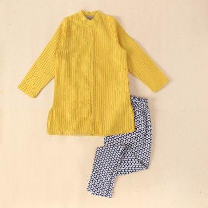 Yellow Silk Mul Pin Tucks Sherwani With Jodhpur - Payal Singhal