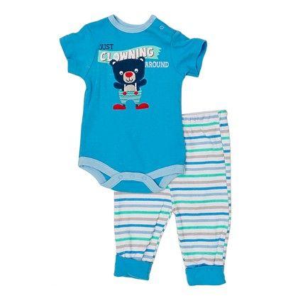 Newborn Boys' Onesie & Pants Set In Blue & Teal - Bon Bebe