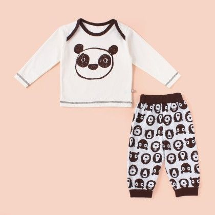 Bear Printed Pyjama Set - Brown - Mini Taurus