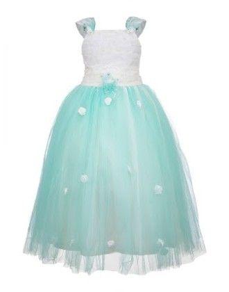 Serene Sea-green Ball Gown-white And Sea-green - BownBee