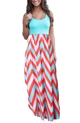 Colorful Sleeveless Wave Striped Full Length Summer Bohemia Beach Dress - Blue - KUFV