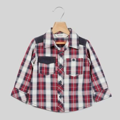 Corduroy Patch Check Shirt Maroon Check - Infant - Beebay