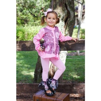 Pink/black/floral Blouse With 2 Layers Of Ruffles & Ruffled Leggings - Mia Belle Baby