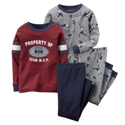 4-piece Snug Fit Cotton Pjs -  Dark Red - Carter's