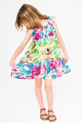 Blue & Green Floral Tie Dress - Toddler & Girls - Yo Baby