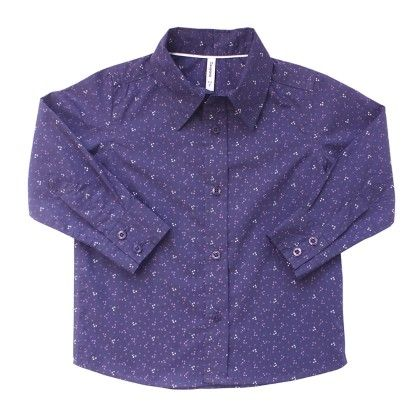 Boys Printed F/s Shirt - Navy Blue - Campana