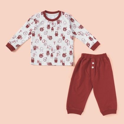 All Over Printed Pyjama Set - Maroon - Mini Taurus
