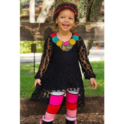 Lace Black  Lace  Tunic With Bead Necklace Detail & Leggings - Mia Belle Baby
