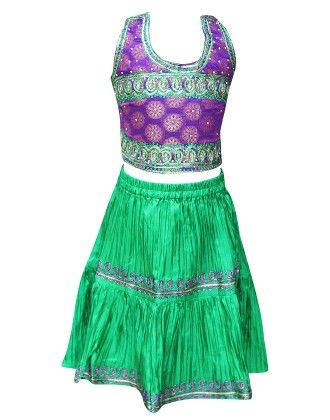 Short Ghagra Choli Set - Blue - BownBee