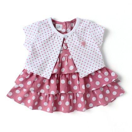 Polka Dot Frilly  2 Pc Dress Set With Shrug - White - TOFFYHOUSE