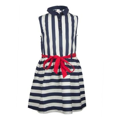 White And Blue Stripes Dress With Belt - My Lil'Berry