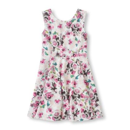 Sleeveless Floral Print Skater Dress - The Children's Place