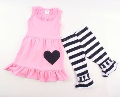 Pink Tunic & Navy Stripe Ruffle Pant Set - AdoraBelle