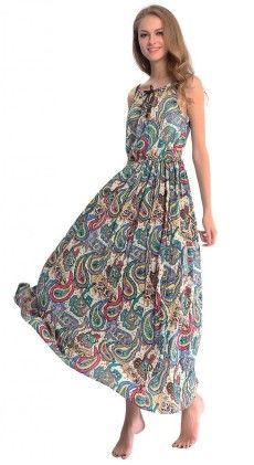 Strap Sleeveless Floral Printed Summer Beach Bohemian Sundress - Dilanni