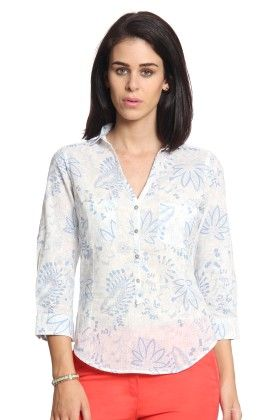 Women Blue Printed Top With 2 Pockets - Cotton World