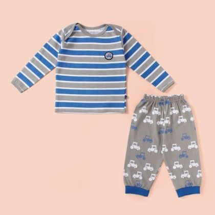 Stripe Full Sleeves Pyjama Set - Blue - Mini Taurus