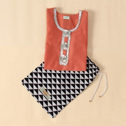 Festive Gift Set - Coral Cotton Silk Tunic With Triangle Print Cotton Bag - Payal Singhal