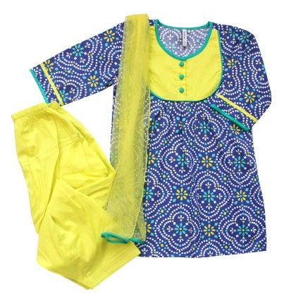 Girls Jodhpur-print Salwar Suit Set - Royal Blue, Lime - Campana