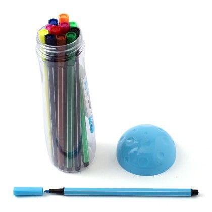 Mushroom Case - Set Of 12 Coloured Pens  - Blue - Happy Gifts