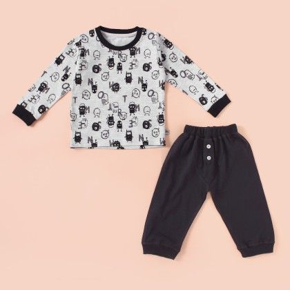 All Over Printed Pyjama Set - Grey - Mini Taurus