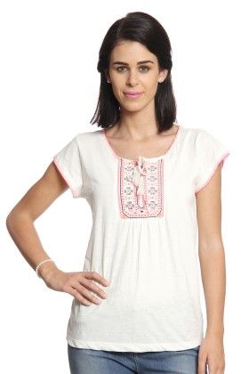 Women White T-shirt With Embroidered Yoke - Cotton World