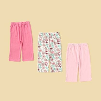 3 Pcs Pant Combo - Pink - Lil Mantra