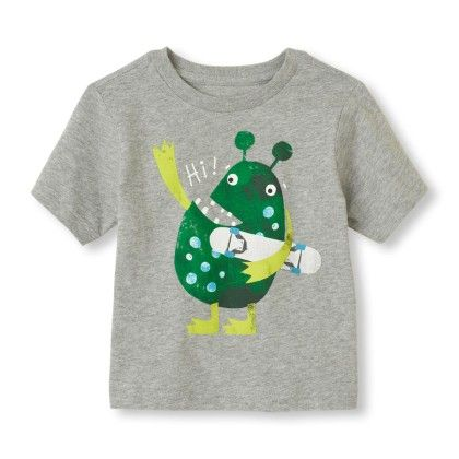 Short Sleeve 'hi' Monster Graphic Tee - The Children's Place