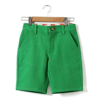 Flat Front Boys Shorts - Green - Azure