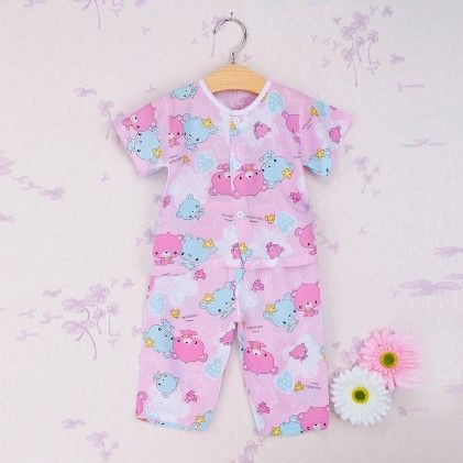 Pink With Multi Cartoon Print Set - Snuggle Bunny