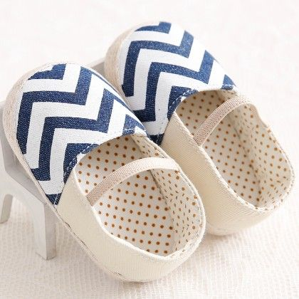 Blue Chevron Shoes - Peach Girl
