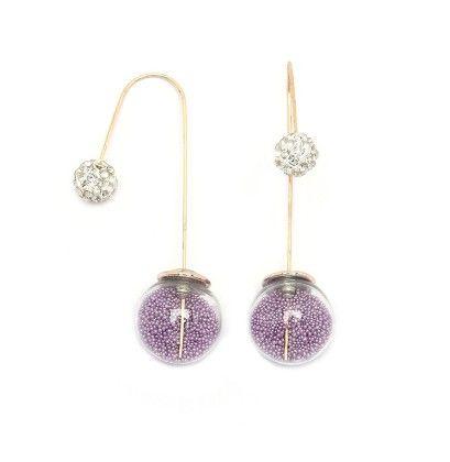Lavender Beads Needle Drop Earrings - Miss Flurrty