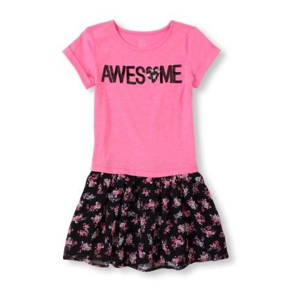 Short Sleeve 'awesome' Floral Print Dress - The Children's Place