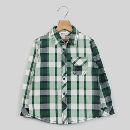 White/green Check Shirt Green Check - Kid - Beebay