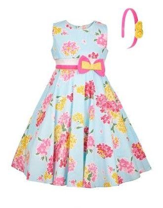 Pretty Blue Summer Dress With Headband-blue - BownBee