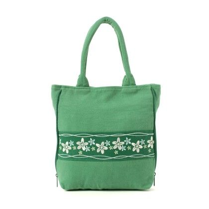 Oyster Kids Hand Bag In Green With Floral Design - Oysterkids