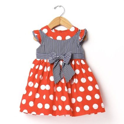 Baby Frocks Polka Dot - Red - Yellow Duck