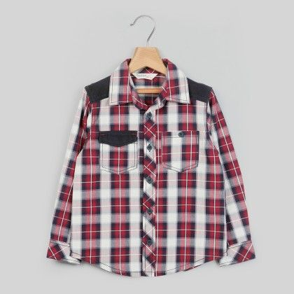 Corduroy Patch Check Shirt Maroon Check - Kid - Beebay
