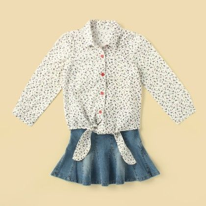 Little Cherry Knotted Shirt & Skirt Set - Lil Mantra