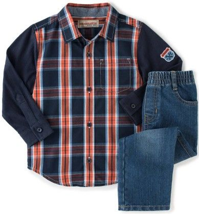 Woven Shirt & Pant -  Set Red & Navy Blue Striped - Kids Headquarters