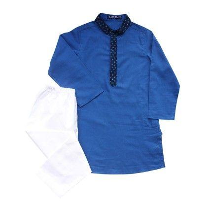 Boys Royal Blue Kurta Pyjama Set - Campana