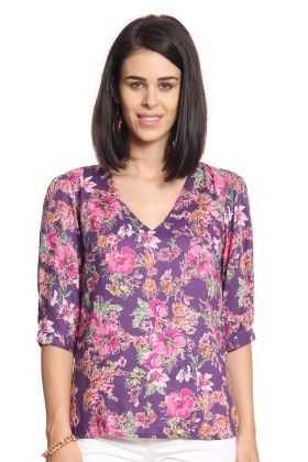 Women Purple Printed V-neck Top - Cotton World