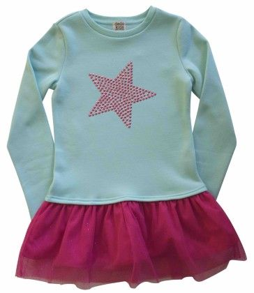 Fleece Sweatshirt Dress With Tulle Hangdown,pink Studded Start Graphic Turquoise - Dedo Kids