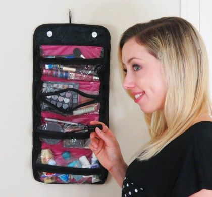 Roll Up Cosmetic Organizer-black And Pink - Cocalily
