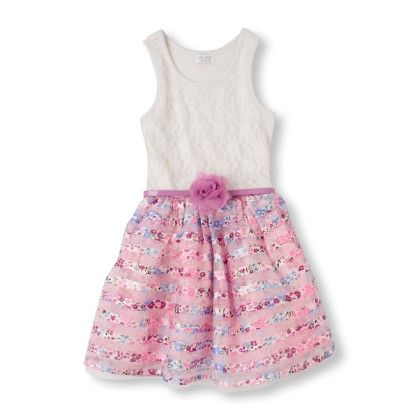 Sleeveless Pink Floral Print Tutu Dress - The Children's Place