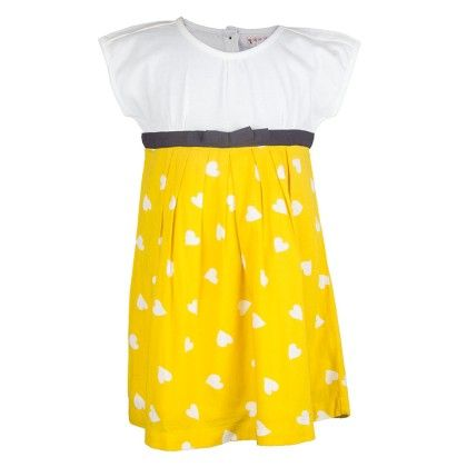 White And Yellow Heart Print Dress - My Lil'Berry