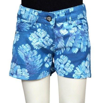 Blue Floral Print Shorts - Tales & Stories